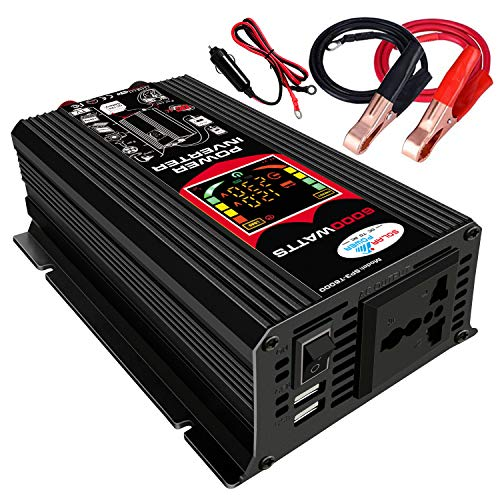 negaor Modified Sine Wave Inverter High Frequency 6000W Power Watt Power Inverter DC 12V to AC 220V Converter Car Power r Inverter with 2.1A Dual USB Port Battery Clips Car Plug LCD Display Power Inv