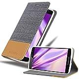 Cadorabo Hülle für Motorola Moto X Play in HELL GRAU BRAUN - Handyhülle mit Magnetverschluss, Standfunktion & Kartenfach - Hülle Cover Schutzhülle Etui Tasche Book Klapp Style