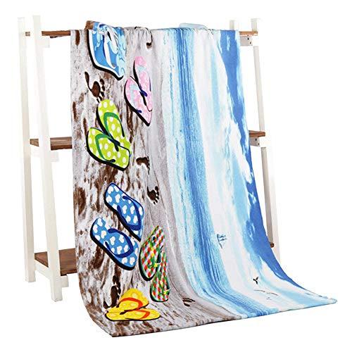 TOORY mural Toalla de Playa Microfibra Toallas de baño Adultos70 * 140cm Zapatilla de Playa Impreso Toalla de Playa niña rectángulo Toalla Playa Secado rápido UK-Zapatilla de Playa_70 por 140