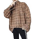 MengFan 長袖 シャツ 春 秋 メンズ カジュアルシャツ チェックシャツ ワイシャツ ゆったり オシャレ 通気抜群 アウター 韓国風 ファッション スタイリッシュ 黒ブラウンc