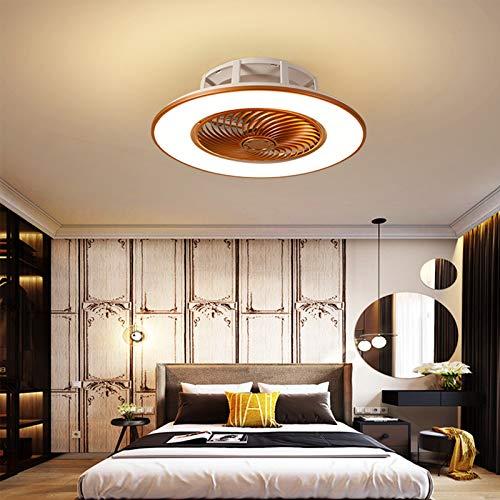 Lámpara De Techo LED Con Ventilador Invisible Moderno Ventilador Ultra Silencioso Lámpara 3 Luces Colores Y Velocidades Del Viento Regulable Mando A Distancia Dormitorio Sala Estar Ø56cm,Oro
