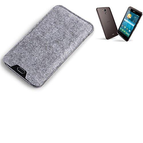 K-S-Trade Filz Schutz Hülle für ACER Liquid Z410 Plus Schutzhülle Filztasche Filz Tasche Case Sleeve Handyhülle Filzhülle grau
