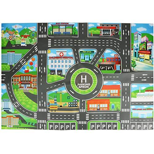La Cabina Demiawaking Tapis de Jeux Enfant Plan de Ville, Point de Repère 83*58CM - House Tapis de Jeu pour Enfants avec Routes et Village - Tapis Circuit Traffic Tapis Voiture Enfant