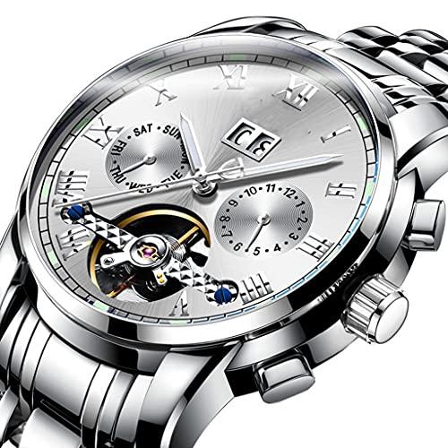 DSJMUY Business Hombres Automático Mecánico Tourbillon Relojes de Pulsera Acero Inoxidable Correa Luminoso Puntero Calendario Multifunción