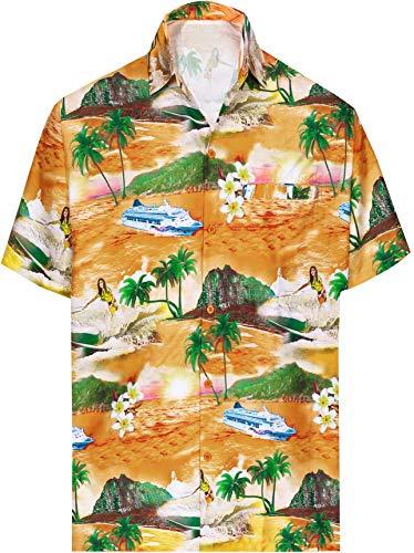 LA LEELA Hombres Aloha botón de la Camisa Hawaiana Fiesta Junto a la Piscina Abajo de Manga Corta Bolsillo Delantero Cobarde Naranja_AA357 M