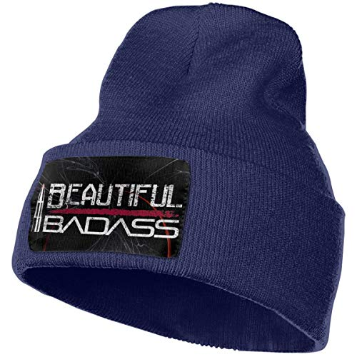 Beautiful Badass Pro Gun Hat Men Women Warm Winter Knit Plain Beanie Hat Skull Cap Acrylic Knit Cuff Hat Navy