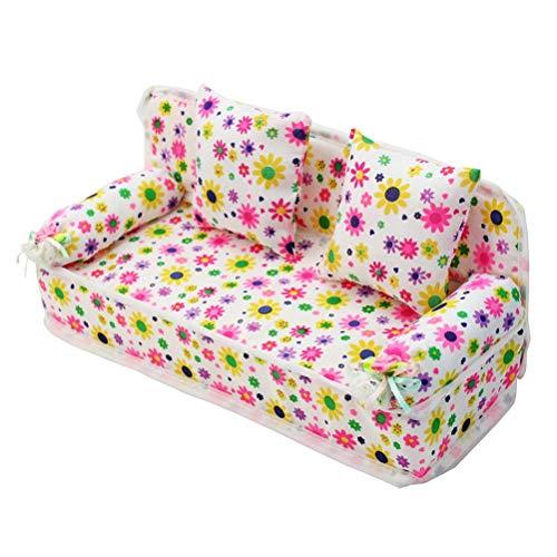 Mini Sofá para Niños, Sofá con Estampado de Flores de Muñecas, Sofá con 2 Cojines, Muebles para Muñecas, Accesorios para Muñecas para la casa de Muñecas, Regalo para Niños