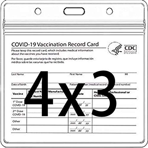 4 X 3IN CDC Vaccination Card Protector Immunization Vaccine Cards Holder Record ID Card Name Label Badge Card with Clear PVC Plastic Sleeve Cover Waterproof Resealable Zip (Protective Case, 5 PCS)