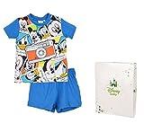Conjunto de pijama corto con caja de regalo para bebé, diseño de Mickey Mouse, de 12 a 30 meses azul azul Talla:30 mois