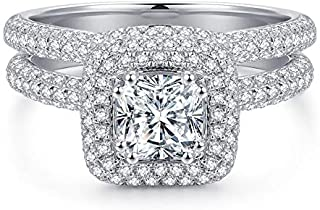 1ct Cushion Cut Simulated Diamond Cubic Zirconia CZ Hola Wedding Engagement Ring Sets, Rhodium Plated Sterling Silver