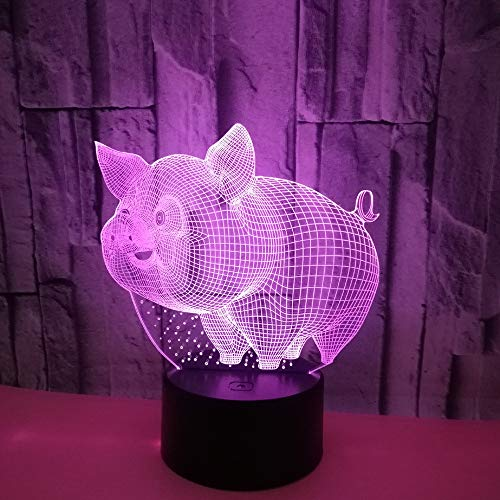lihaohao Cartoon Animal Pig 3D Optical Illusion Lamp Led Night Light Boy Girls Children's Toy Baby Desk Lamp, 16 Color Changing Remote Control USB Bedside Table Lamp Bedroom Decoration Birthday