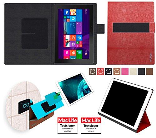 reboon Hülle für Dell Venue 10 Pro 64 GB Tasche Cover Case Bumper | in Rot Leder | Testsieger