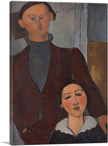 "ARTCANVAS Jacques and Berthe Lipchitz 1917 Canvas Art Print by Amedeo Modigliani - 12"" x 8"" (0.75"" Deep)"