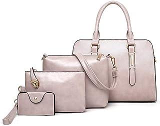 Simple Women's Handbag 4 Piece Set Versatile Multi Piece Set (Color : Purple)
