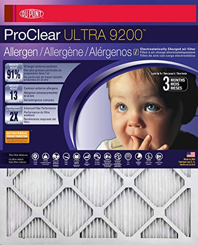 16x25x1 DuPont ProClear Ultimate Allergen Electrostatic Air Filter (2 Pack)