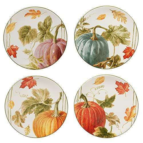 Certified International Autumn Harvest 9' Salad/Dessert Plates, Set of 4, Multicolor