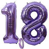 Globos Numeros 18 Años, xxxl 100cm Number Helio Inflados Globo Elio Número 18 Morados para Niña Niño Infantil, 40' Lila Globo Inflable,Gigantes Grandes Decoración Fiesta de Aniversario Cumpleaños