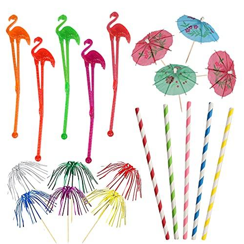 Gxhong 110 pezzi Decorazioni per Cocktail Party, Include Cannucce per Cocktail, Flamingo Bastoncini da Cocktail, Ombrellini Cocktail, per Bar Matrimoni Compleanno