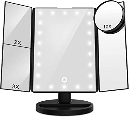 FASCINATE Lighted Makeup Mirror,  Trifold Vanity Mirror with 21 LED Lights and 2X/3X /10X Magnification,  Touch Screen Dimming,  Dual Power Supply,  180° Rotation Light Up Mirror (Black)