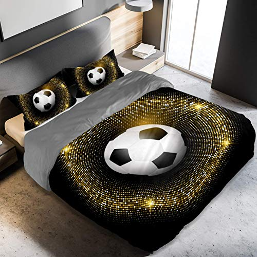 3 Pieces Duvet Cover Set King Size, Football Soccer Ball On Glittery Gold Ring Bedding with Zipper Ties 1 Duvet Cover 2 Pillowcases Luxury Quality Super Soft Easy Care