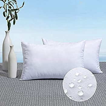 MIULEE Pack of 2 Outdoor Pillow Inserts Waterproof 12x20 Throw Pillow Inserts Premium Hypoallergenic Pillow Stuffer Sham Square for Patio Furniture