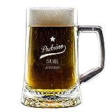 Regalo Personalizado para Padrinos: Jarra de Cerveza grabada con Nombre y Fecha, en Caja de Madera grabada con el Mismo diseño