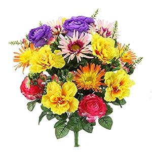 Artificial Spring Mixed Flower 30 stem Hibiscus/ Rose Mixed Bush , ABN1B014-GD-LAV-PK