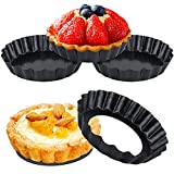 QtoiKce Mini Tart Pans Set with Removable Bottom, 4-Pieces 4 Inch Carbon Steel Mini Tart Molds for Baking,Non-Stick Carbon Steel Quiche Pan for Quiche Cheese Cakes and Desserts