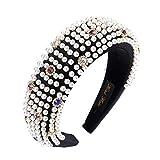 Haimeikang 2019 nuevo invierno diadema acolchada aro moda rhinestone perla accesorios para el cabello para mujer tocado de esponja-negro