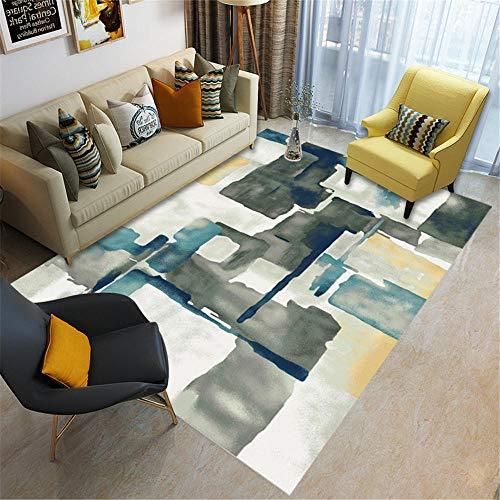 Resistente al desgaste Alfombras Alfombra decorativa del sofá de la sala de estar del diseño de la tinta gris amarillo azul Antideslizante Resistente al desgaste interiores Alfombras 160*200cm