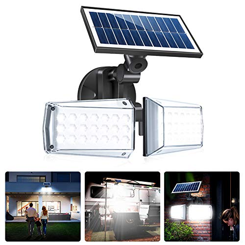 FOLUR Luz Solar para Exteriore de Seguridad con Sensor de Movimiento, 42 LED 550LM, 270 ° Cabezales Ajustables Luz de Pared a Prueba de Agua IP65, Adecuada para Balcón, Jardín, Terraza, Garaje,Porche