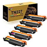 ONLYU Compatible Toner Cartridge Replacement for Brother TN227 TN-227 TN227BK TN223 TN 227 for HL-L3230CDW HL-L3210CW HL-L3270CDW HL-L3290CDW MFC-L3710CW MFC-L3750CDW MFC-L3770CDW (5 Pack)