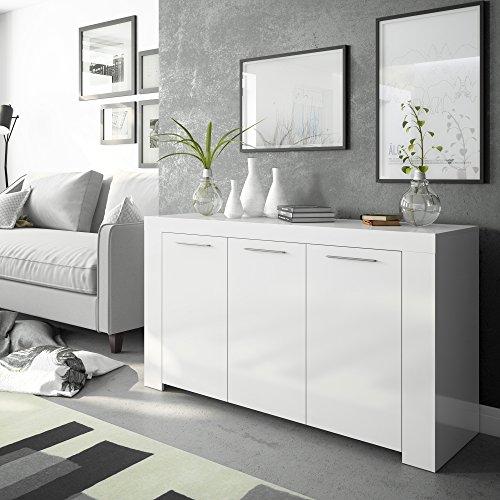 Habitdesign 006620BO - Aparador Buffet Moderno, Color Blanco Brillo, Dimensiones: 144x42x80 cm...