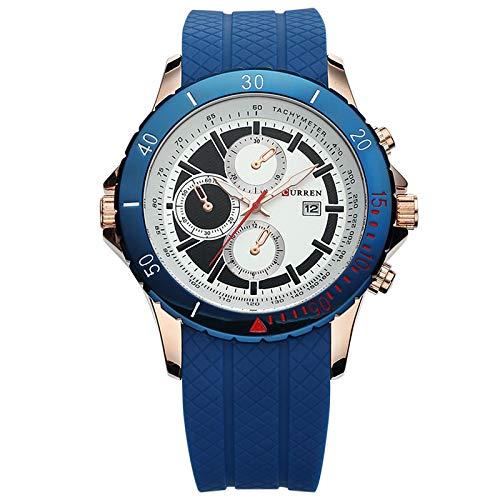 DAZHE Armbanduhr Curren Quarz-Uhren, Curren M8143 Herren Sportuhr Silikon Gürtel Sport Quarzuhr (Color : 1)