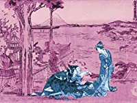 ArtVerse HOK085A1824A Japanese Courtesan Wood Block Print In Pink and Blue Removable Art Decal 18 x 24 [並行輸入品]