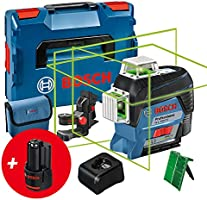 Bosch Professional 12V System Linienlaser GLL 3-80 CG (2x Akku 12 V, Ladegerät, grüner Laser, mit App-Funktion,...