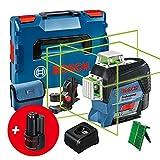 Bosch Professional System nivel láser GLL 3-80 CG, 2 baterías de 12V, cargador, láser Verde, función de aplicación, soporte, alcance hasta 30m, en L-BOXX, Edición Amazon
