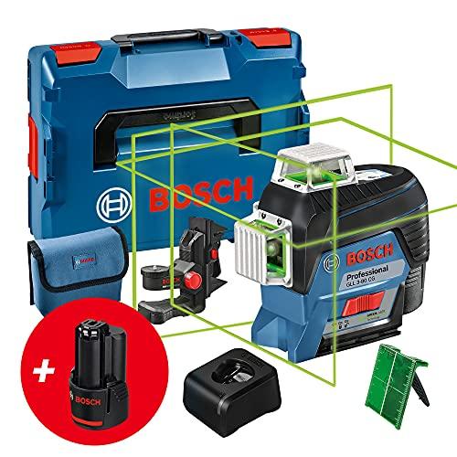 Bosch Professional 12 V System Nivel Láser GLL 3-80 CG, 2 Baterías de 12 V, Cargador, Láser Verde, Función de Aplicación, Soporte, Alcance Hasta 30 m, En L-BOXX, Amazon Exclusive Set