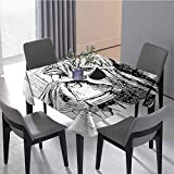 JKTOWN Alice in Wonderland Household Coffee Table Table Cloth Modern Table Cloths Cover 50x50 inch Black and White