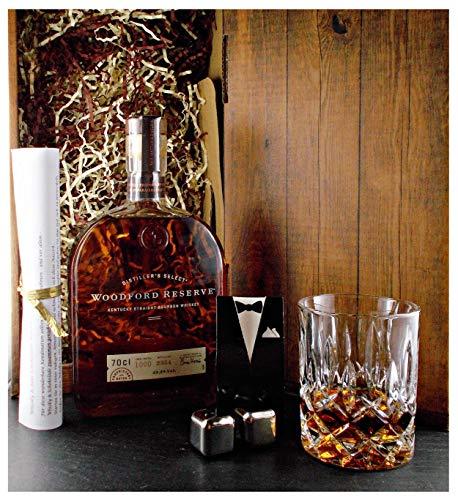 Geschenk Woodford Reserve Bourbon Whiskey + Glas + 2 Whisky Kühlsteine