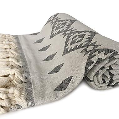 ZesteDesign Large Turkish Cotton Bath Towel Tribal Aztec Design (67 x 33 inches, Black)