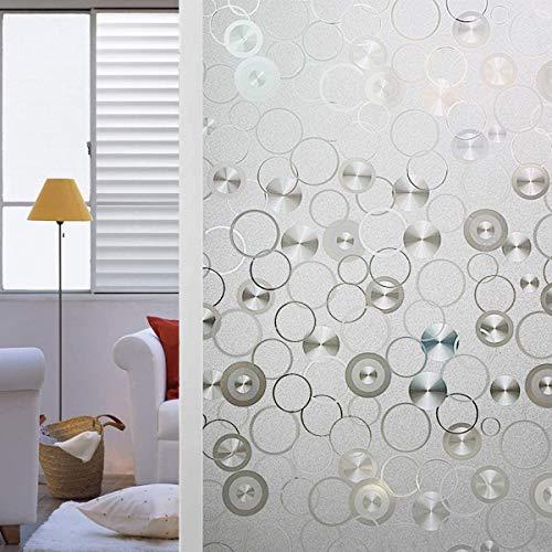 d.Stil Fensterfolie, elektrostatisch, UV-Schutz, selbstklebend, für Fenster, Schutz des Privatlebens, für Fenster, Haus, Büro, Badezimmer (Kreis, 60 x 200 cm)