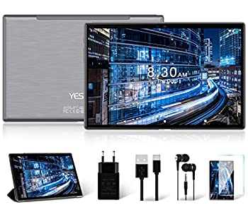Tablet 10 Pulgadas, 5G Wi-Fi, 4G LTE Dual SIM, Android 10.0 YESTEL T5 Tablet PC, Procesador Octa-Core 1.6 GHz, HD Display, Face ID, 3 GB de RAM, 64 GB Ampliables hasta 128 GB, Color Gris