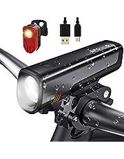 SPGOOD LED zestaw oświetlenia rowerowego USB do ładowania, 300 lumenów światło IPX5 wodoodporne -F światło tylne światła rowerowe zestaw do wszystkich rowerów, rowerów górskich, rowerów szosowych