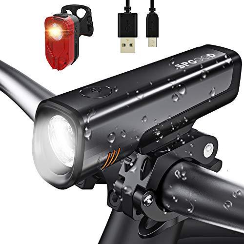 SPGOOD LED Fahrradlicht Set- StVZO Zugelassen USB Wiederaufladbare Fahrradbeleuchtung fahrradlichter Set, 300 Lumen Licht IPX5 Wasserdicht -Frontlicht+Rücklicht Fahrradlampe Set