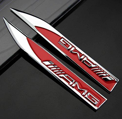2 pegatinas de cromo emblema 3D de Mercedes-Benz AMG, emblema de cromo para guardabarros de coche rojo y plateado, placa deportiva, pegatina de metal color plateado