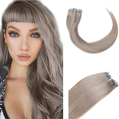 SEGO Extension Capelli Veri Biadesivo Human Hair Tape Extensions Biadesive 10 Fasce Adesive 100% Remy Naturali 25g/Pack senza Clip (60cm, Grigio)