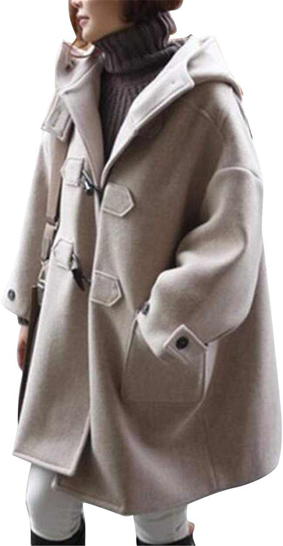 SHOWNO Women's Baggy Hoodie Horn Button Autumn Winter Trench Jacket Pea Coat Overcoat