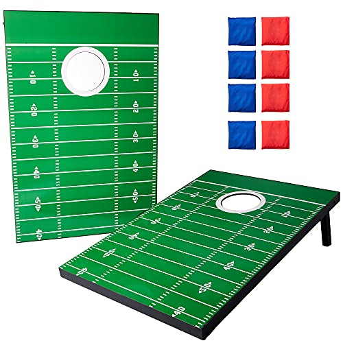 Touchdown Toss Cornhole - Classic Backyard Game Set with Football Field Design - 2 Scoreboards, 8 Beanbags, & Nylon Carrying Case - Indoor & Outdoor Activities - Play for Travel, Beach, Yard, & Lawn