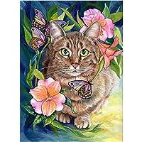 大人のための5Dダイヤモンドペインティングキット猫ペット番号キットダイヤモンドアートクラフトの家の装飾でペイント、20x26インチ(M9-671)